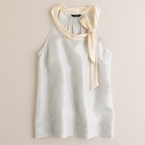 {J. Crew} Silk Tie-Neck Tank in Nantucket Fog